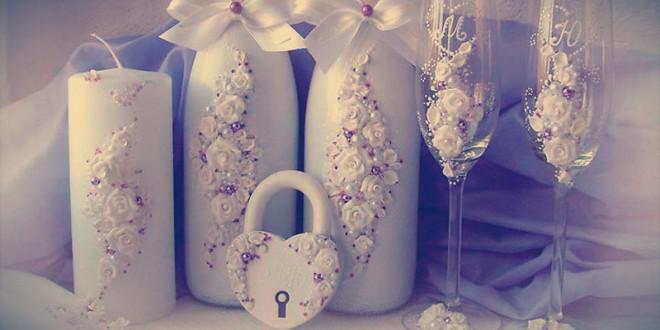 украшение шампанского на свадьбу своими руками