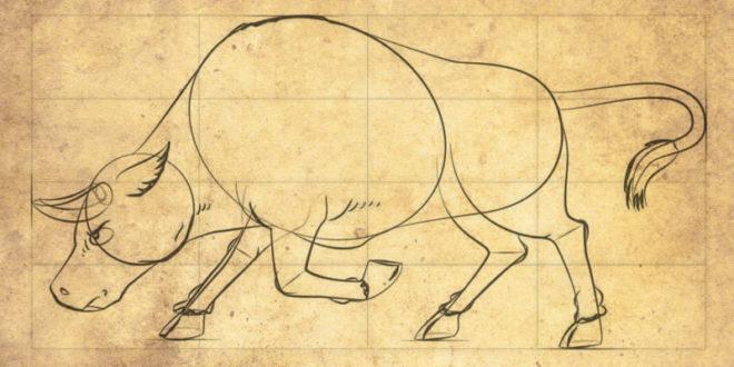 Как нарисовать животное-символ 2021 Нового года – Белого Быка?